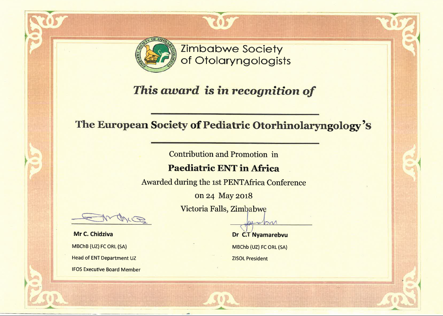 Paediatric ENT in Africa Certificate - ESPO - The European Society
